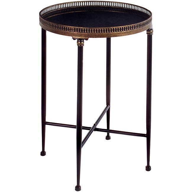 Argento Round Black Accent Table   Overstock™ Shopping   Great Deals On  Coffee, Sofa U0026 End Tables
