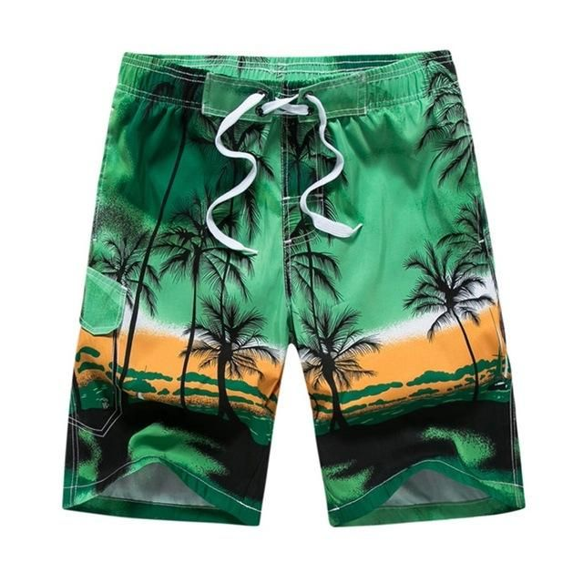 NIBESSER Men Shorts 2018 Casual Male Tree Print Beachwear Elastic Waist Fashion Hawaiian Beach Shorts 6 Color Plus Size 6XL 3XL