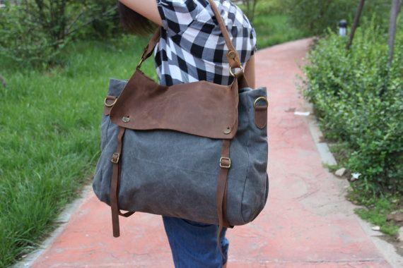 Grey Canvas Bag/ Shoulder Bag/ Shopping by FashionCanvasShop, $52.99