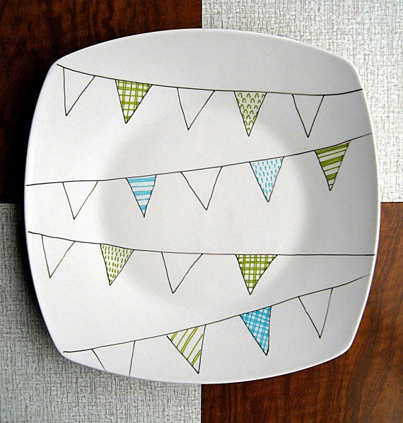 Bunting Flag Design Hand Illustrated Plate by PerDozenDesign, €15.00Buntings Buntings, Crafts Ideas, Buntings Plates, Beautiful Buntings, Hands Illustration, Design Hands, Buntings Flags, Flags Design, Illustration Plates