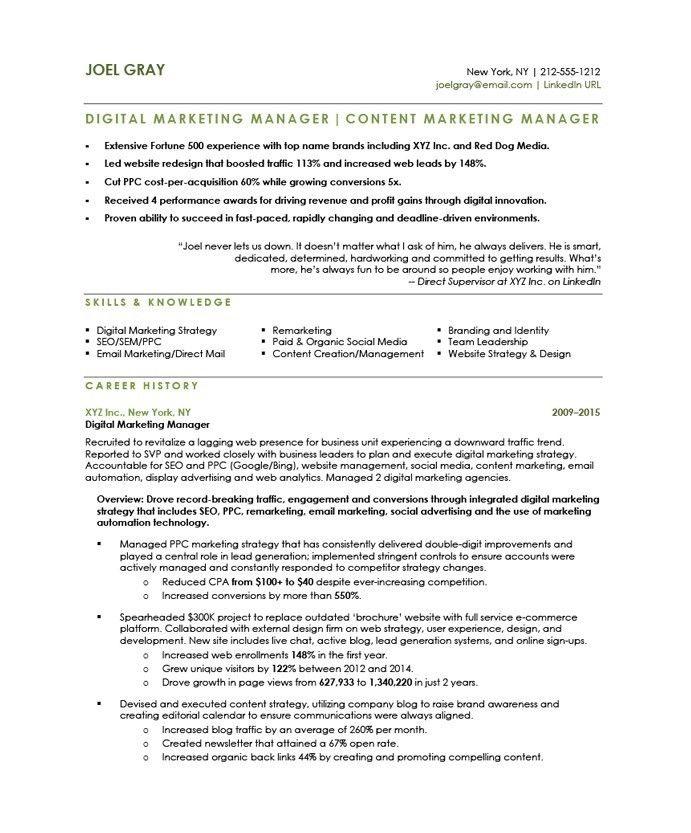 digital marketing manager resume the letter sle Bu Tarz Benim - resume xyz