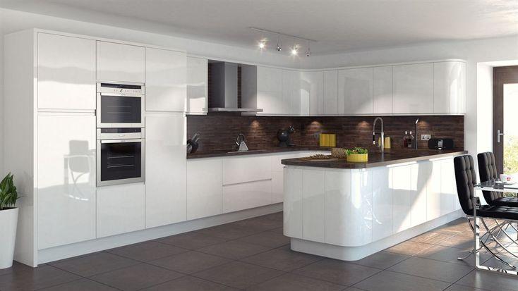 Atlantis Kitchens | Inspiration | Modern Kitchens | Handleless Gloss White - Walnut wood worktops - Modern hob - Cooker hood extractor - Pull out pantry - Pan drawers - Intergrated appliances - Internal drawers - Karndean flooring - Tile flooring - Breakfast bar - Kitchen seating - Bespoke kitchen - Modern kitchen | Atlantis Kitchens, Kendal, Cumbria