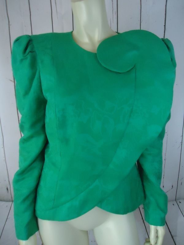 EVENINGS BY RAUL BLANCO Blazer M Green Linen Cotton Vintage Architectural Design #EVENINGBYRAULBLANCO #Blazer
