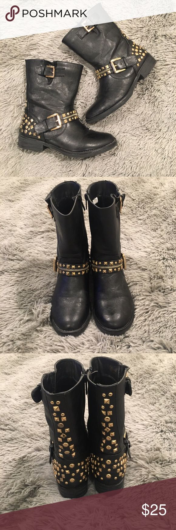 Wanted Cruiser Vegan Leather Gold Grommet Boot Short boot.. worn a couple times at work indoors... great condition... great for someone with wide ankles like myself... super comfy.. Wanted Shoes Ankle Boots & Booties