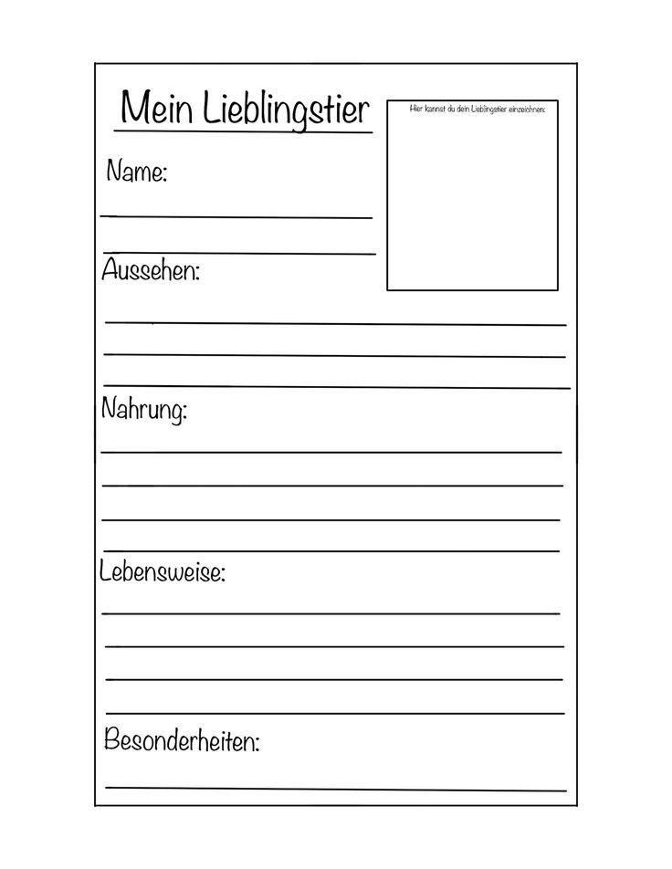 Steckbrief Lieblingstier Vorlage - Unterrichtsmaterial im