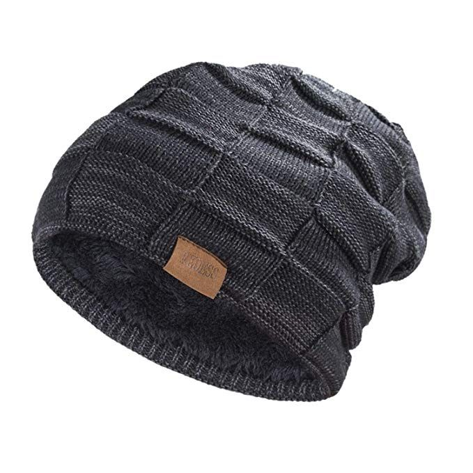 172c7695dc610 REDESS Beanie Hat for Men and Women Winter Warm Hats Knit Slouchy Thick Skull  Cap(Black)