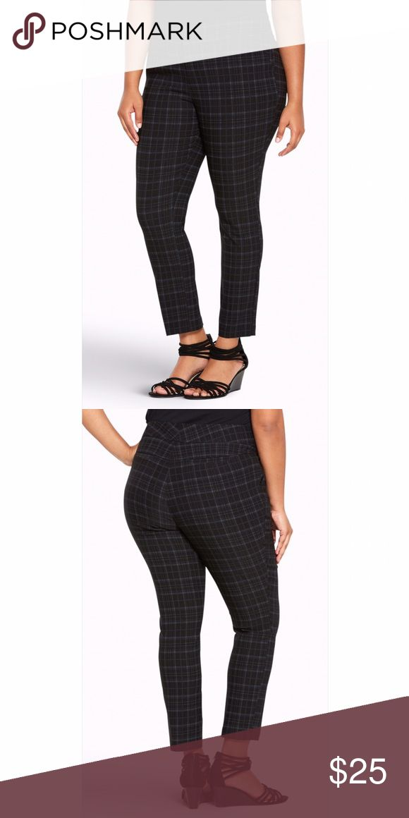 """Trouser Pant Plaid Deluxe Stretch Give your basic black trousers the day off; these black and grey plaid print Trouser Pants are a fab substitution. The skinny-mini fit gives your shoes some airtime with a cropped ankle. The 4 way stretch fabric maintains your comfort level, while the tab waistband flatters. Size 18: 27"""" inseam, 16"""" leg openingPolyester/rayon/spandexWash cold, dry lowImported plus size pantsNoir Pant Collection torrid Pants Ankle & Cropped"""