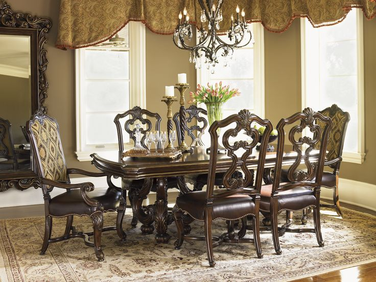 Richly Carved Dining Table With Rustic Cherry Framed With Brazilian Walnut  Burl And Ebony | Six Part 75