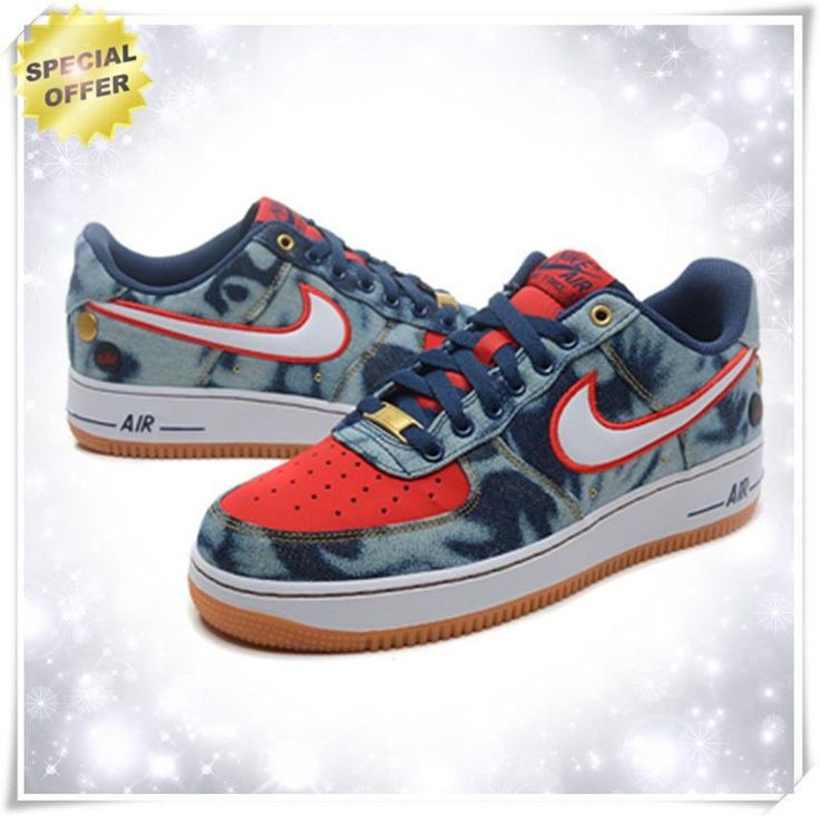 """Mens Midnight Navy / White-University Red 630930-400 """"WASHED DENIM"""" Nike Air Force 1 Low Outlet Stores"""