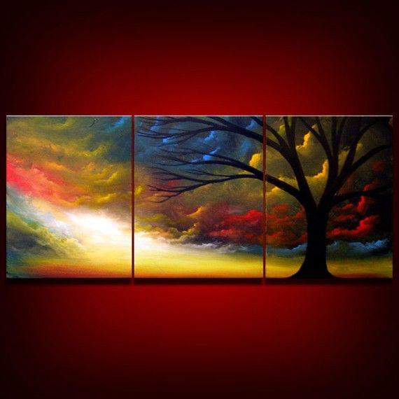 Silhouette tree painting - Large 33 inch Surreal Clouds Sunset Tree triptych original painting - Mattsart