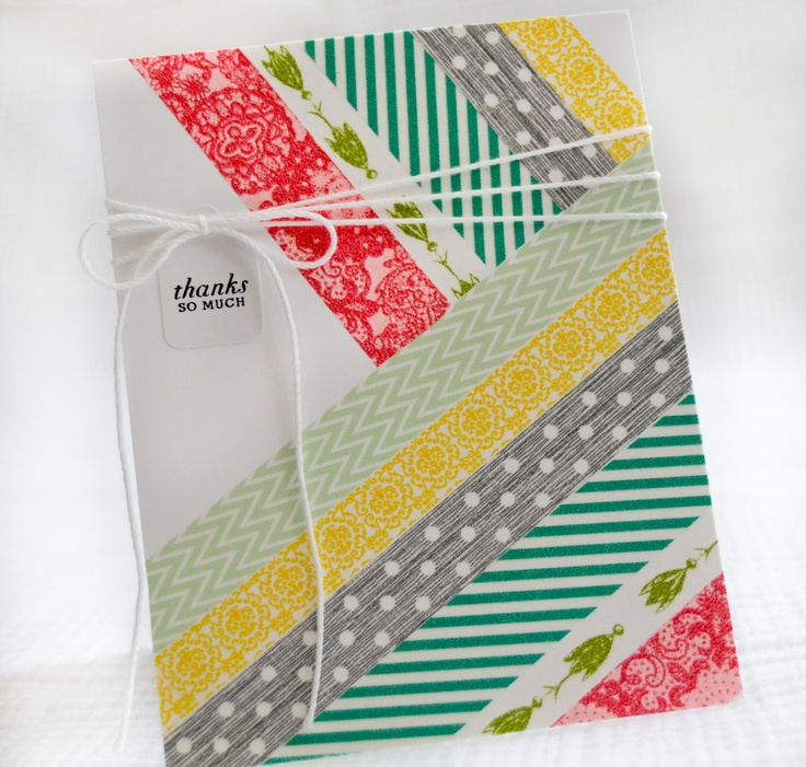 Thank You Washi Cards  Set of 4 Handmade Greeting Cards. $10.50, via Etsy.