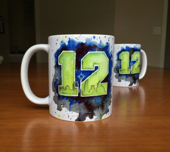 12th Man Mug Seattle 12th Man Seahawks Ceramic by OlechkaDesign