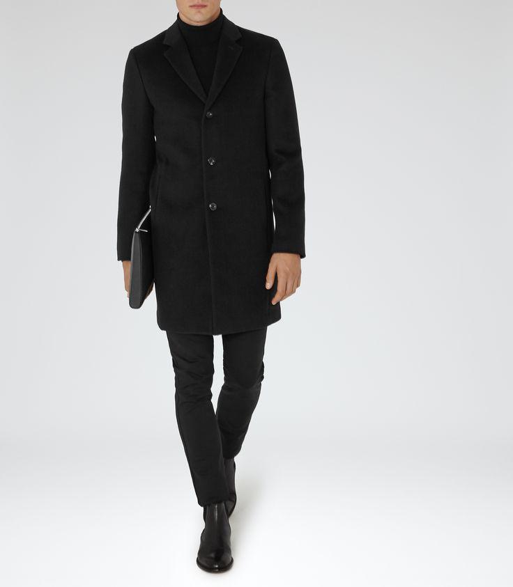 Mens Black Epsom Coat - Reiss Gabriel