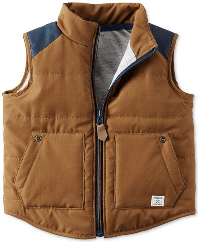 Carter's lends rugged style to his play-time looks with this charming zip-up vest. | Polyester | Machine washable | Imported | Stand collar | Sleeveless | Colorblocked at shoulders | Pockets at front