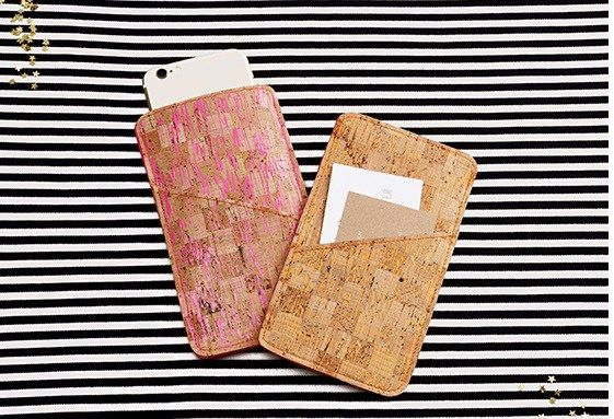 Free pattern: Simple phone case from cork fabric, felt, or leather