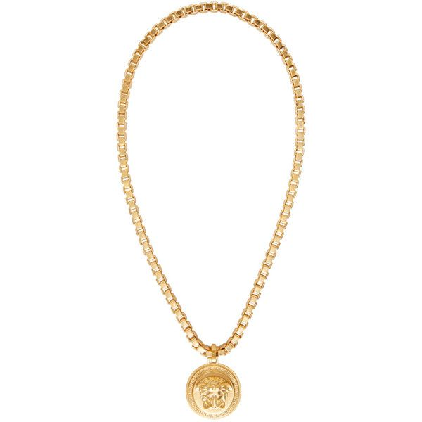 Versace Gold Medusa Necklace ($630) ❤ liked on Polyvore featuring men's fashion, men's jewelry, men's necklaces, mens gold medallion necklace, mens box chain necklace, mens gold box chain necklace, mens yellow gold cross necklace and mens gold chain necklace