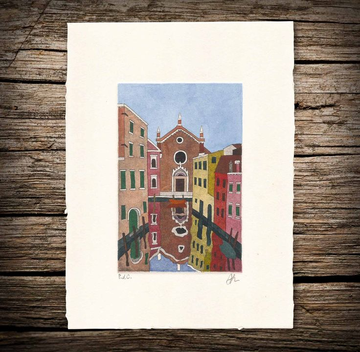 Madonna dell'Orto (Etching   Watercolor)  #etching #watercolor #Venice #Venezia #art #colors #church