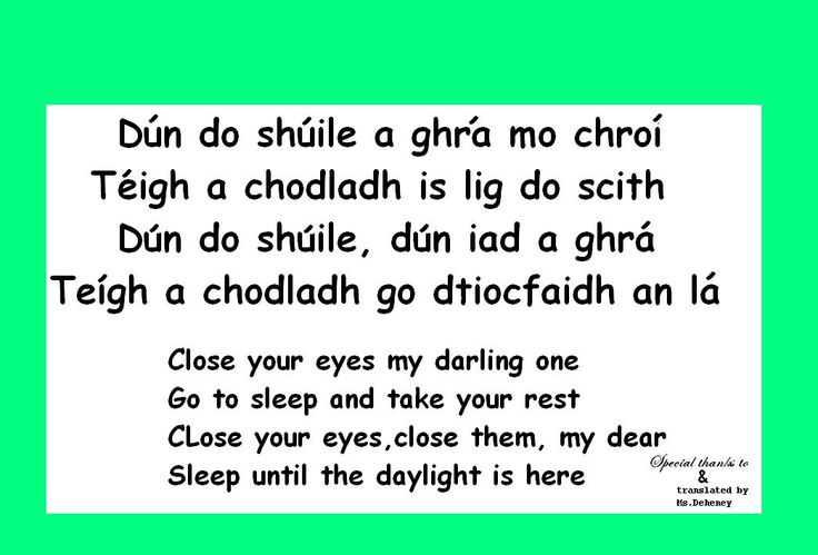 Close your eyes-.. Gaeilge