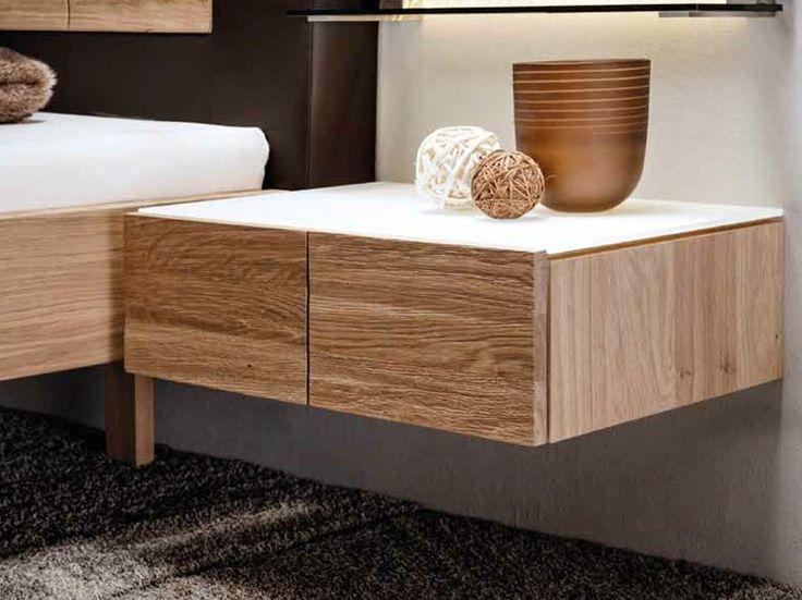 Mesa-de-cabeceira retangular suspensa de madeira maciça Coleção V-Rivera by Voglauer