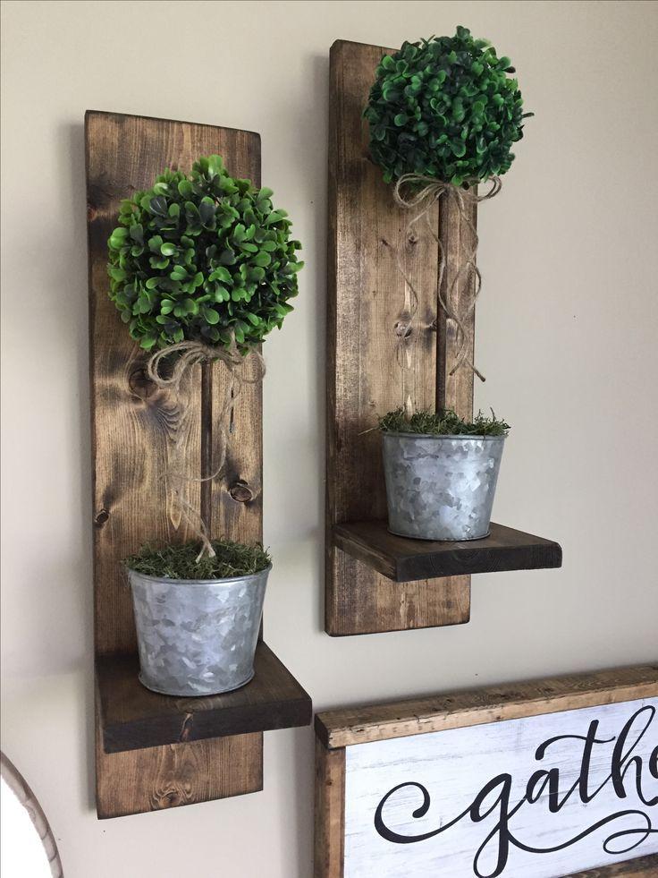 Wood on wall vase
