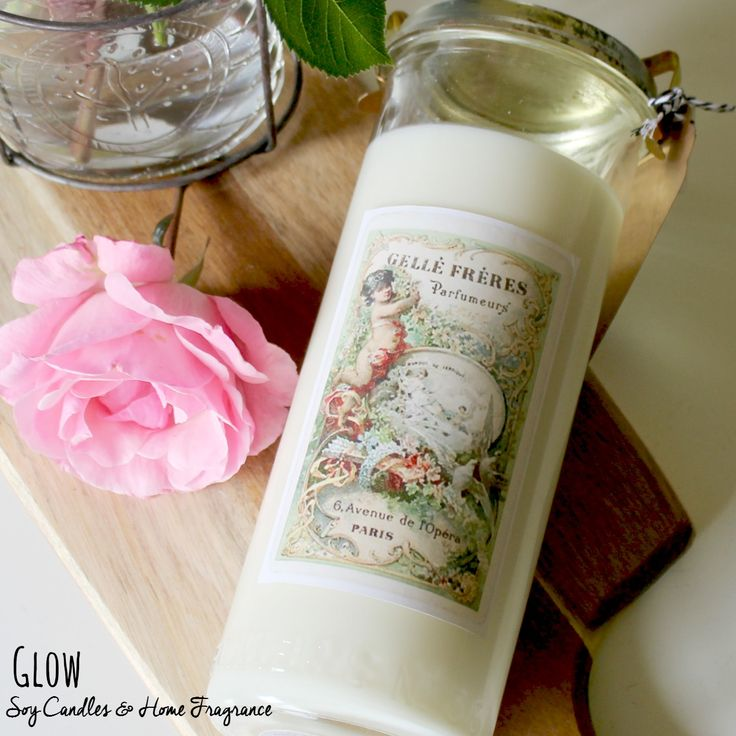 No. 36 vintage Fowlers jar soy candle, with vintage-inspired French perfumery label. www.glowcandles.net