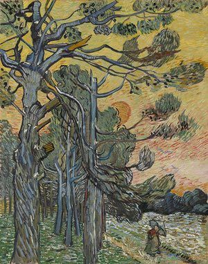AUTUMN: Pine trees at sunset (December 1889) - Oil on canvas. Only six months before his death, Van Gogh painted this stand of blasted pine trees, ravaged by storms, during his stay in the Saint-Rémy hospital. He made 20 paintings and sketches of the pine trees in and around the asylum.  Photograph: Kröller-Müller Museum - Rik Kl/Kröller-Müller Museum, Otterlo, the Netherlands