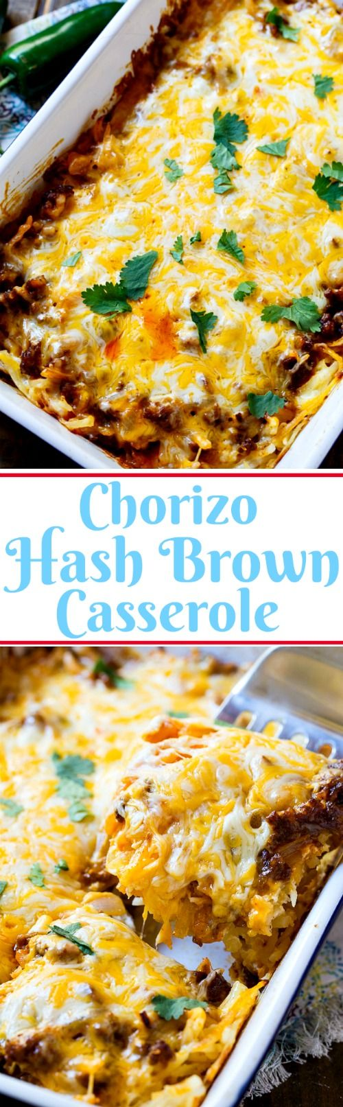 Chorizo Hash Brown Casserole is perfect for when you want a bold and spicy brunch casserole. #SimplyHolidays #ad