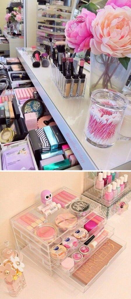 Varias ideas de organizadores de maquillaje
