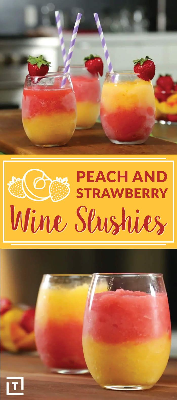 "This 3-Ingredient Strawberry Peach Wine Slushies recipe screams ""Summer""!"