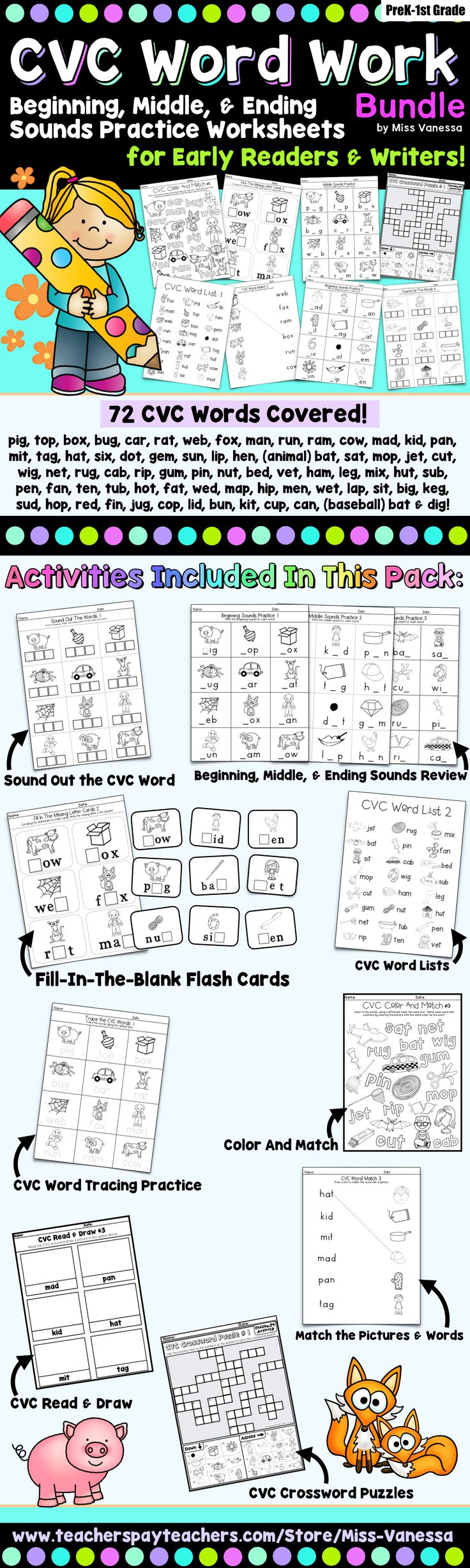 A CVC Word Work Pack for practice reading beginning, middle, and ending  sounds!