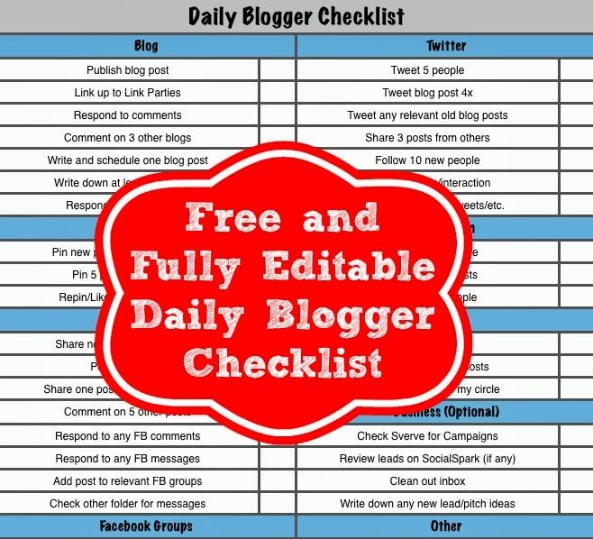 Free and fully editable daily blogger checklist #blogging #checklist #planner