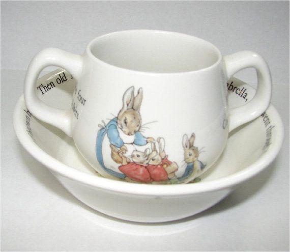 Vintage Beatrix Potter Peter Rabbit Child S Cup And Bowl