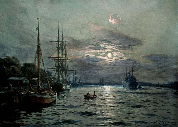 Mondnacht im Hafen von Swinemünde