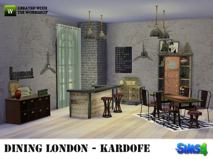 Dining Industrial Style Consisting Of Furniture Built With Old Boxes Found In TSR Category Sims 4 Room Sets