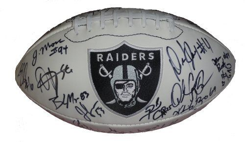 2011 Oakland Raiders Team Autographed Logo Football with 32 Signatures Total, Proof Photos by Southwestconnection-Memorabilia. $259.99. This is a 2011 Oakland Raiders team autographed Raiders logo white panel football. The following Raiders have signed the football in black sharpie: Carson Palmer, Denarius Moore, Stanford Routt, Shane Lechler, Marcel Reece, Jon Condo, Jerome Boyd, Michael Mitchell, Manase Tonga, Cooper Carlisle, Kevin Boss, Brandon Myers, Jarvis Moss, Da...