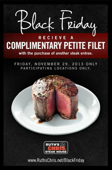 If you live near a Ruth's Chris Steakhouse but aren't down with the prices, Friday is THE DAY to give them a shot. They only do BOGO on steak once a year!