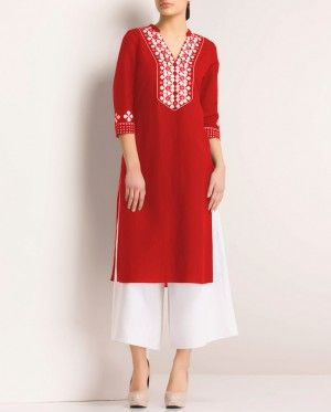 Embroidered neckline and bright red Georgette! Perfect for offices and evening hangouts.