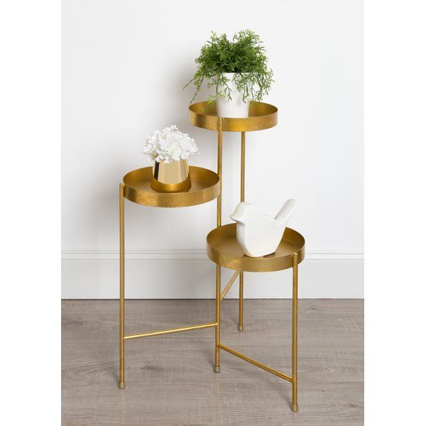 Showcase Your Plants With This Metal Multi Tiered Plant Stand Made Of A Durable Black Metal Frame And Beautiful Round Tray Metal Plant Stand Plant Stand Decor