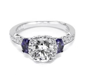 Tacori stuns with Sapphire side stones on this engagement ring!