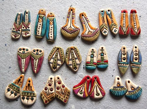 polymer clay earring bead pairs