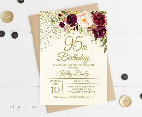 95th Birthday Invitation Floral Ivory Cream Burgundy Invite PERSONAL