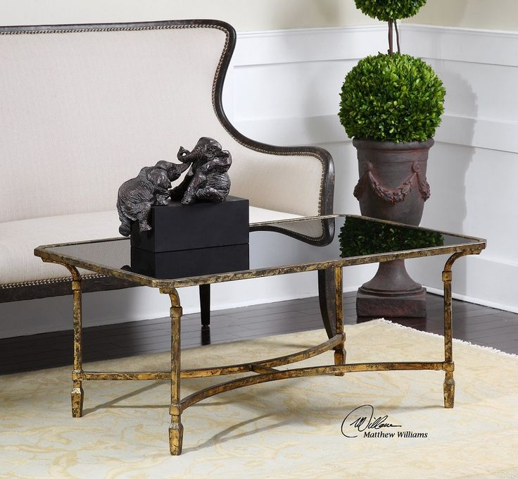 Zion Gold Leaf Metal Black Glass Coffee Table