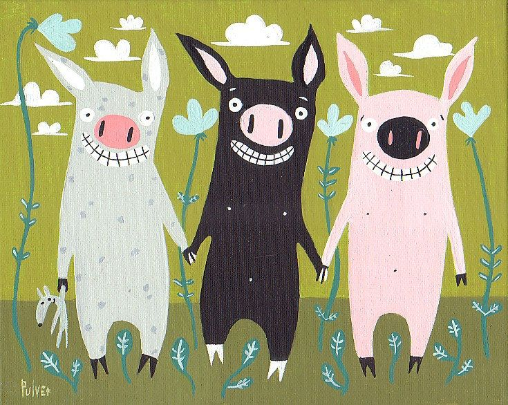 Three Little Pigs Mini Print Folk Art Card