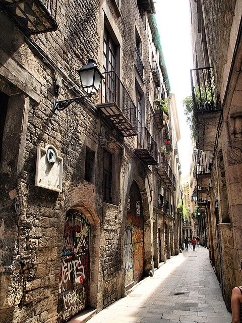 Barcelona Barri Gòtic (ancient Gothic quarter bordering the Mediterranean) - rented an apartment in this district for a week - way better than a hotel