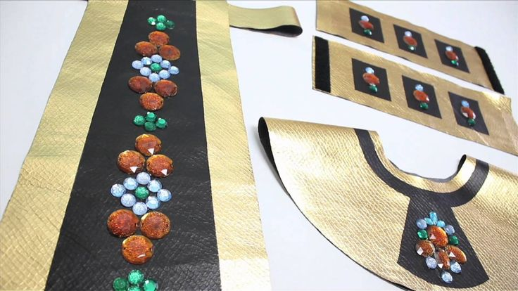 spray paint  paper bag & jewel stickers...No-Sew Cleopatra Costume, Halloween How-to