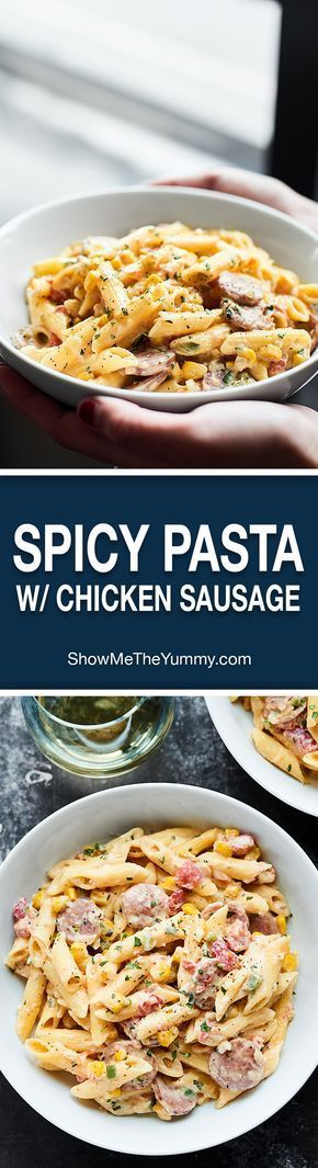 A completely gluten free pasta dish, this Spicy Chicken Sausage Pasta Recipe is full of gluten free penne, chicken apple sausage, veggies, and the creamiest sauce! showmetheyummy.com Recipe made in partnership with Aidells & Barilla. @AidellsSausage #EmbraceYourFoodie #ad