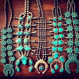 Vintage Navajo and Zuni squash blossom necklaces. Many do not realize that the naja, the horseshoe-shaped pendant at the bottom of a squash blossom necklace has its origins in ancient Carthage via Spain.