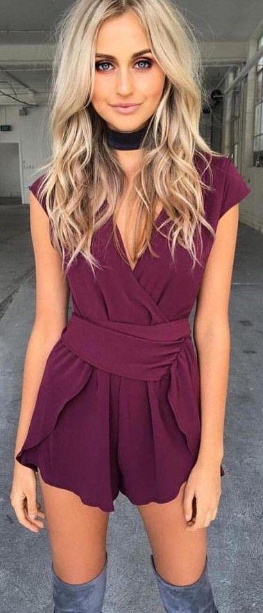 #summer #tigermist #outfits | Burgundy Playsuit