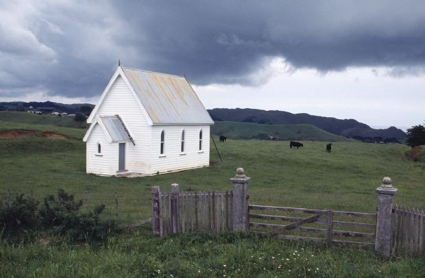 Abandoned church at Awhitu. ca 1988.
