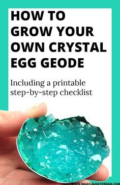 How to make crystal egg geodes (or diamonds in a lid) - Magical Daydream: grow your own crystal egg geode in an eggshell with alum, fun DIY, craft or science project for children. Including a free printable checklist in blogpost